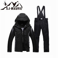 SJ MAURIE Waterproof Unisex Couple Ski Suit Hooded Snow Ski Pants Jacket Trousers Shoulder Straps Sports Warm Winter Clothing