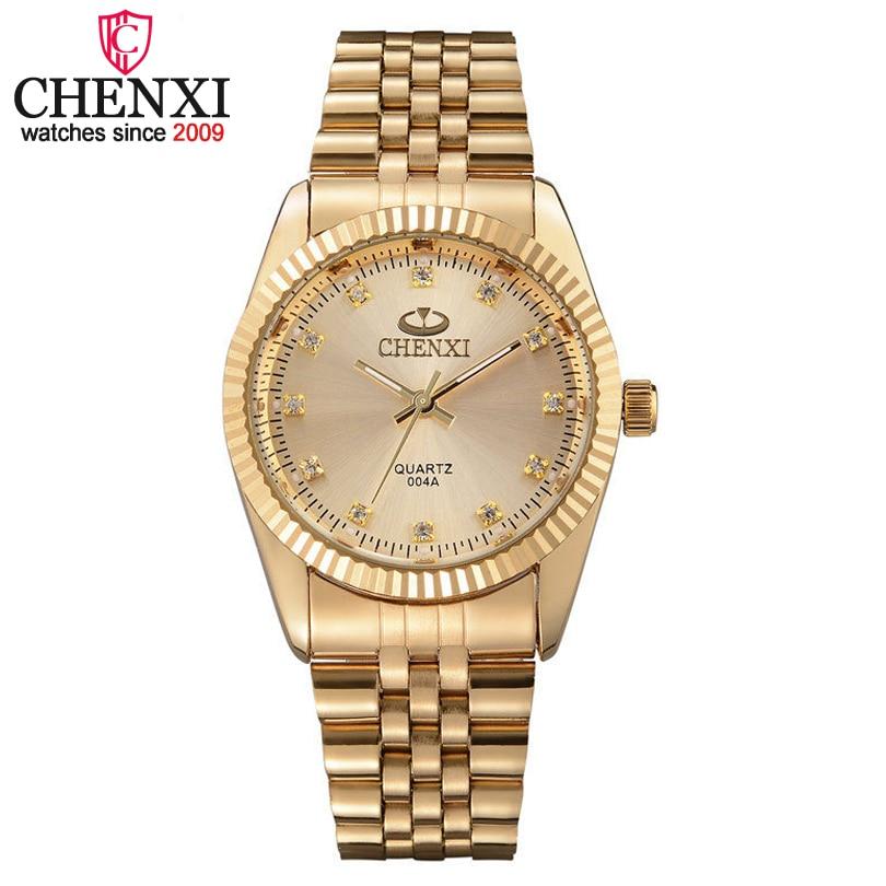 CHENXI hombres reloj de oro hombre cuarzo de acero inoxidable de oro de los hombres relojes de pulsera para hombre marca de lujo de cuarzo Relojes regalo de reloj