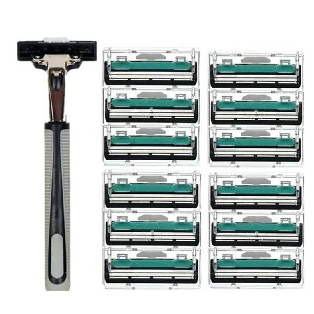 Replaceable Razor Blades Hot Shaver Original13pcs/set 1 Machine +12 Blades Best Shaving For Men's Face Hair Shaving Manual