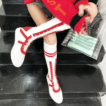 Women Socks White Boots High Mid-Calf Boots Long Thigh High Boots Elastic Slim Sneakers Designer Shoes Women Luxury Size 40