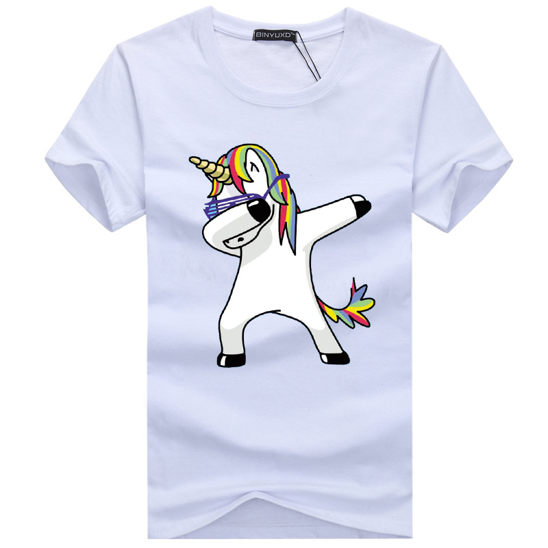 2019 Men's T-shirts Men's Summer Short Sleeves Unicorn Cartoon Printed Funny T Shirt Men Casual Cotton Brand Tee Shirt Homme