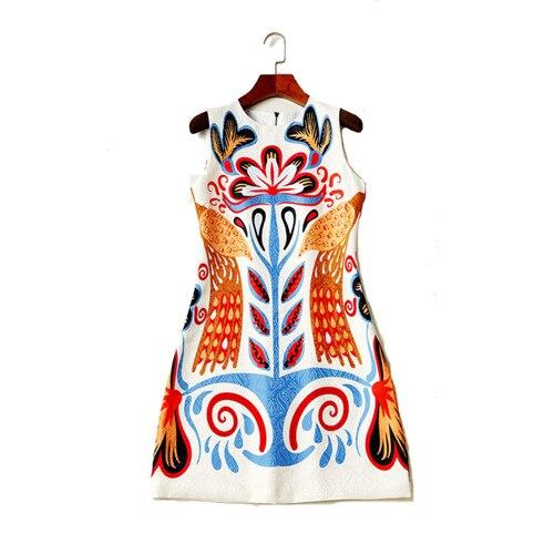 Femmes été sans manches robe 2018 rétro motif imprimé débardeur robe courte a-ligne robes décontractées de haute qualité livraison gratuite xl - 2