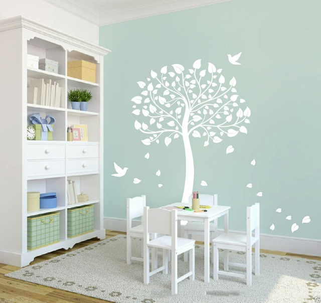 Us 45 99 White Tree Wall Sticker Cot Side For Nursery Or Kids Room Diy Removable Decal 146 150cm 40 Colors In Stickers From Home