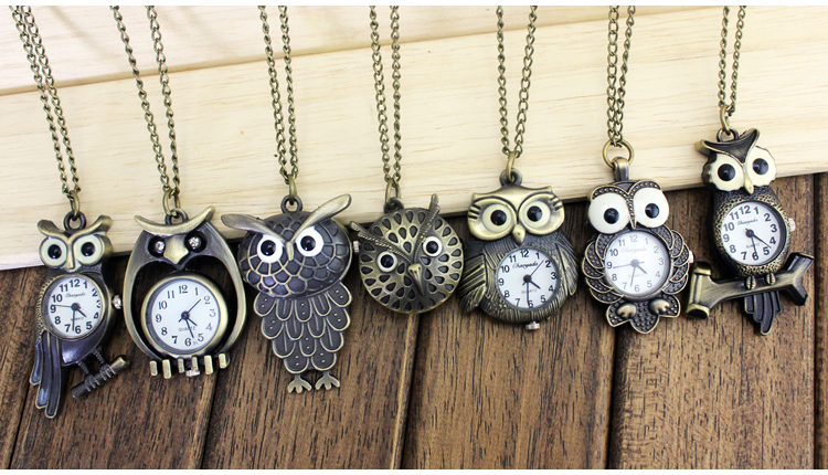 Unique Antique Fashion Alloy Vivid Owl Pocket Watch Pendent Necklace Chain Vintage Fob Watch Active Wings Clock