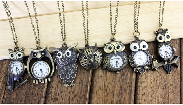 Unique Antique Fashion Alloy Vivid Owl Pocket Watch Pendent Necklace Chain Vinta