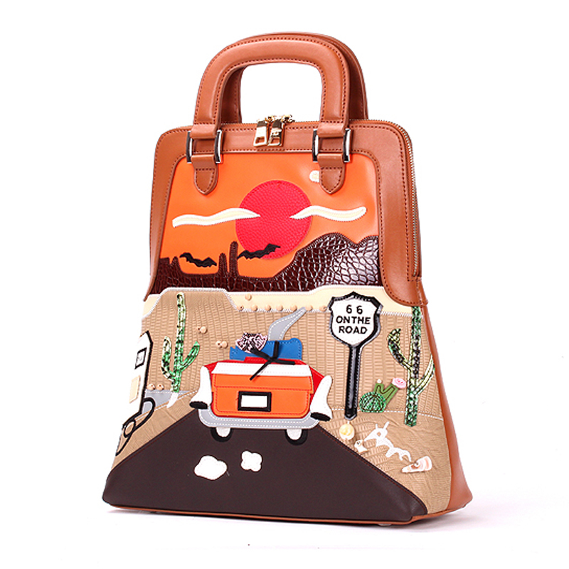 Women Bags Genuine Leather Patchwork Embroidery Backpack Schoolbag Student Bag Travel Bag Braccialini Brand Style Route 66Women Bags Genuine Leather Patchwork Embroidery Backpack Schoolbag Student Bag Travel Bag Braccialini Brand Style Route 66