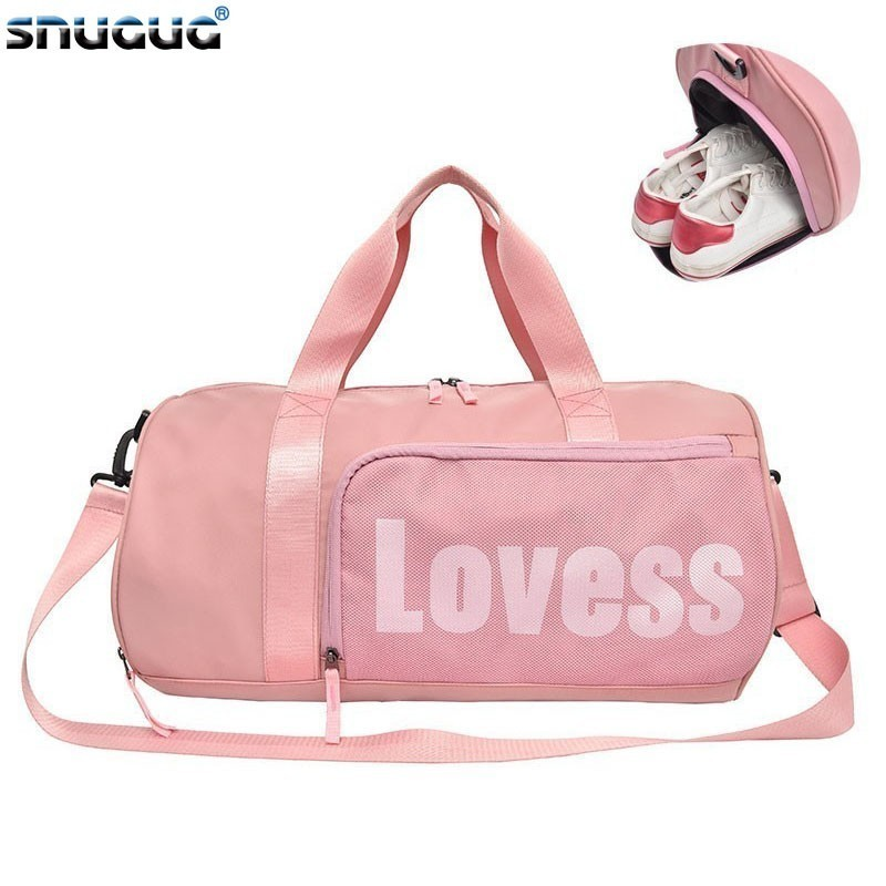 SNUGUG Nylon Mens Sport Shoulder Bag Women Waterproof Girls Gym Bags With Shoe Big Pink Travel Men For Fitness 2019
