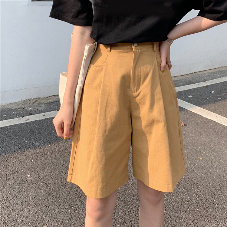 New Summer Knee Length Shorts Women Hot Shorts Fashion Loose Cotton Wide Leg Shorts Candy Color Casual Shorts Womens Bottoms