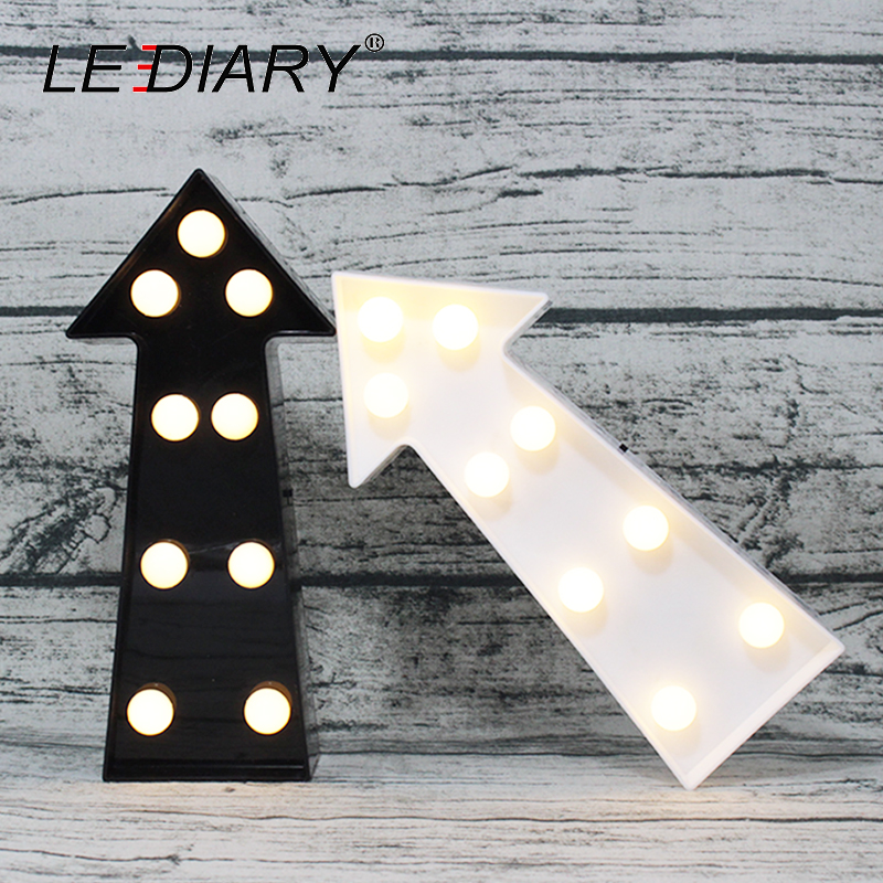 LEDIARY Creative Arrow Night Light Black White Party Christmas Living Room Decoration Game Props LED Indicator Lamp 230mm*103mm