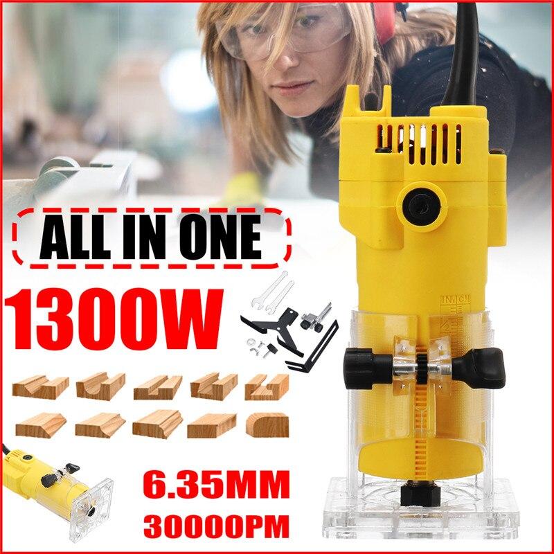 1300 W 6.35 MM 30000 rpm tondeuse électrique bois stratifié routeur 110 V US/220 V EU outils de coupe du bois sculpture fraiseuse