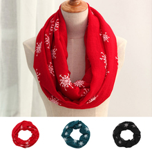 Genovega Winter Warm Infinity Scarf Women Fashion Large Viscose Red Ring Scarf Snowflake Loop Foulard Femme Shawls And Scarves
