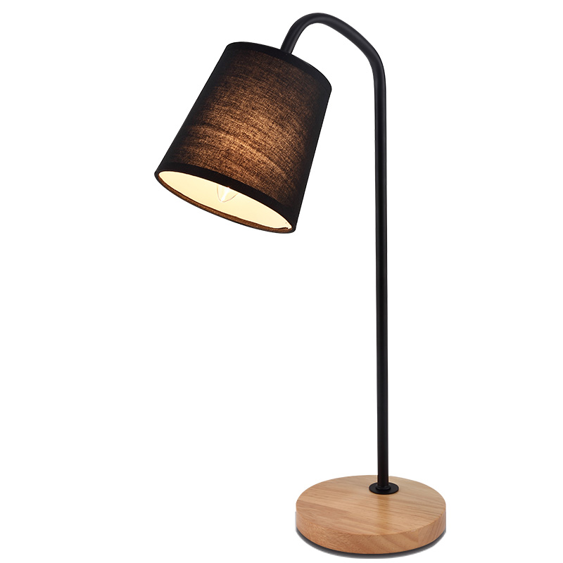 Traditional Artistic White Black Fabric Lampshade Table Lamp Light Reading Study Bedroom Living Room Lighting