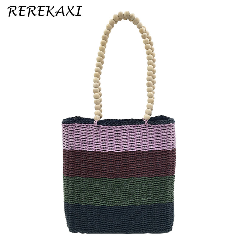 <font><b>REREKAXI</b></font> Beaded Handle Women's Handbag Handmade Straw Bag Weaving Summer Beach Bags Female Shoulder Bag Bohemia Tote image