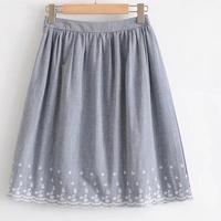 Girl Vintage Ethnic Floral Skirt Embroidery A-line High Waist Mini Short Skirt Trendy Women Blue Skirt White Linning New Arrival