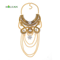 New Fashion Tribe Vintage Tassels Multilayer Chain Gold Silver Plated Rhinestones Necklace Pendants Statement Necklace For