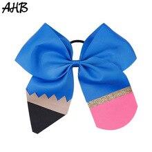 AHB 7 Large Hair Bows for Girls Back to School Glitter Pencil Print Cheer Rubber Band Handmade Headband Girl Headwear