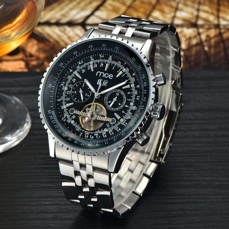 Mechanical Automatic Watches Men Luxury Brand MCE Tourbillon Wrist Watch Stainless Steel Business Black  Wristwatches mce luxury fashion gold watch women high quality skeleton mechanical watch full stainless steel water resistant wrist watches
