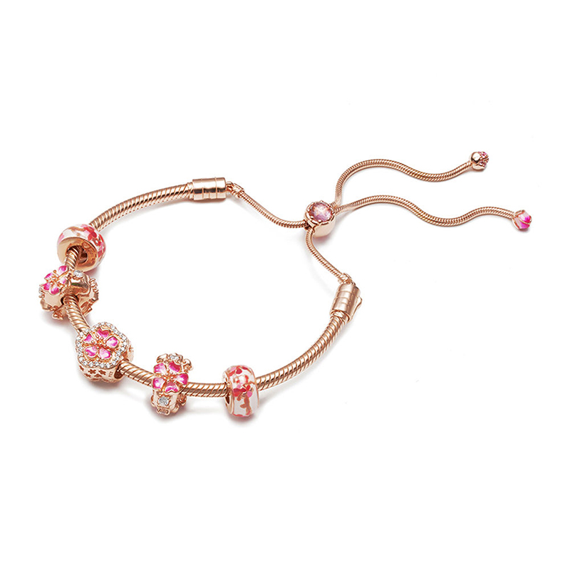 New 925 Sterling Silver Fashion Peach Blossoms Flower Set Adjustable Bracelet Fit for Original Women Charm Bracelet DIY JewelryNew 925 Sterling Silver Fashion Peach Blossoms Flower Set Adjustable Bracelet Fit for Original Women Charm Bracelet DIY Jewelry
