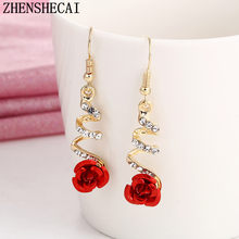 Fashion Jewelry Heart Earring With Red Ball Simple Personality Earring Gift For Women Girl Minimalist Bijoux 2017 new hot e0373(China)