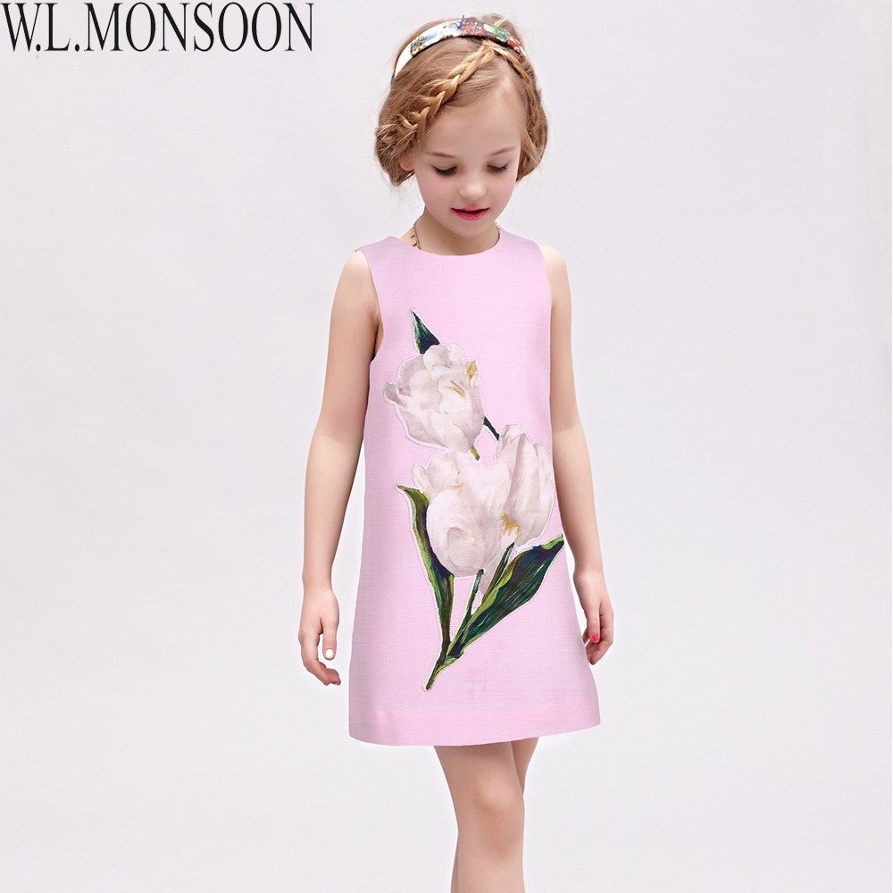 Подробнее о W.L.MONSOON Girls Dresses Summer 2017 Brand Princess Dress Girl Clothes Daisy Flower Robe Fille Children Costumes Kids Dress baby girl dress 2016 brand girls summer dress children clothing lemon print kids dresses for girls clothes robe princesse fille
