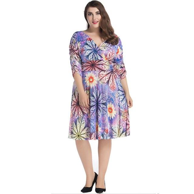 d1a515cd8f1 6XL 7XL Plus Size Wrap Dress Summer Women Sexy V Neck Floral Print Midi  Dress Ruched Half Sleeve Pleated Flared Dress Purple
