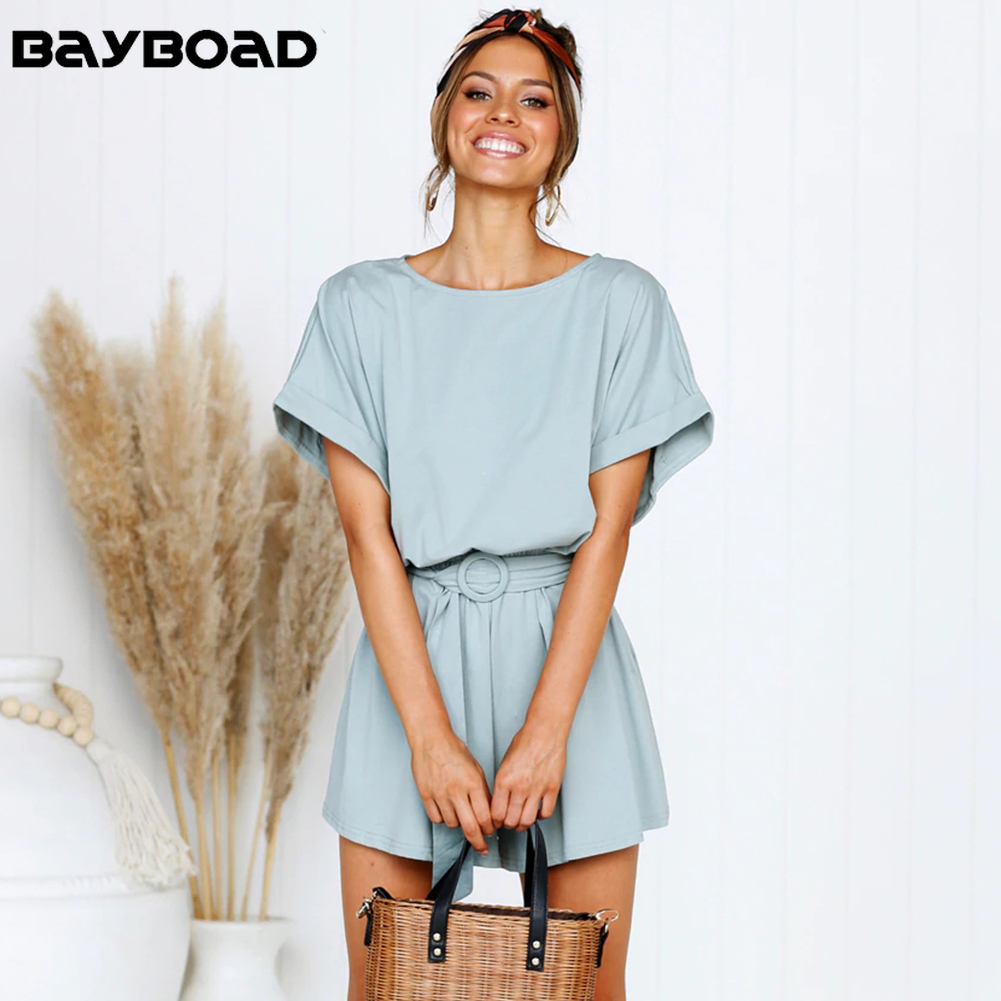 Bayboad New Arrival 2019 Summer Solid Color Cotton Sexy Plain Casual Short   Jumpsuits   for Women Rompers Female Playsuits