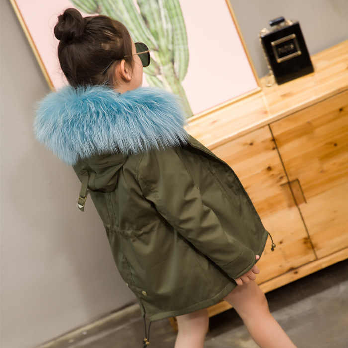 9522e0b3861ad ... 2018 Winter Girls And Boys Big Real Raccoon Fur Rabbit Liner Thick Coat  Kids Children Military ...
