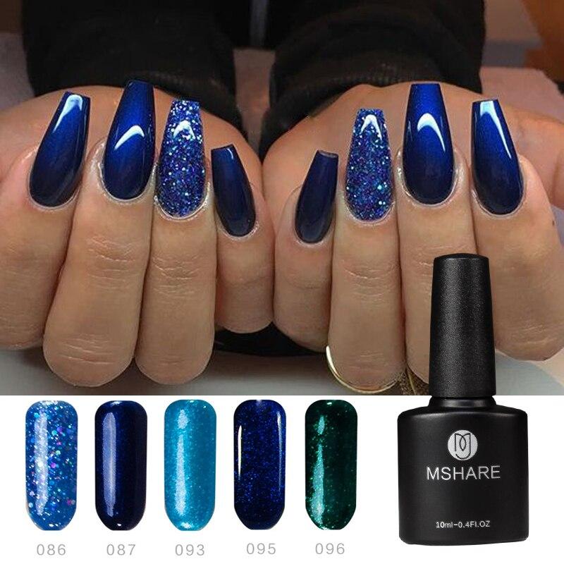 MSHARE brillo ostentoso profundo azul negro gris Nude Gel UV uñas barniz UV de Gel de uñas Vernis Semi permanente Lak de Gel UV laca
