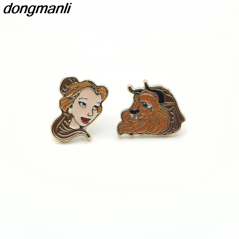 P1256 Dongmanli Enamel cute Cartoon Beauty And The Beast Earrings For women Cosplay Jewelry Famous Movie Kids Stud Earring gifts