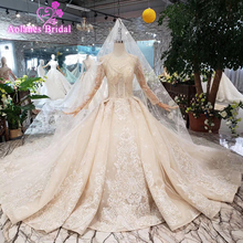 Sexy Full Beads Crystals Wedding Dresses High-end Lace See Though Long Sleeves Lace Up Back Wedding Gown 2019 New Bridal Dresses black long sleeves lace up design dresses