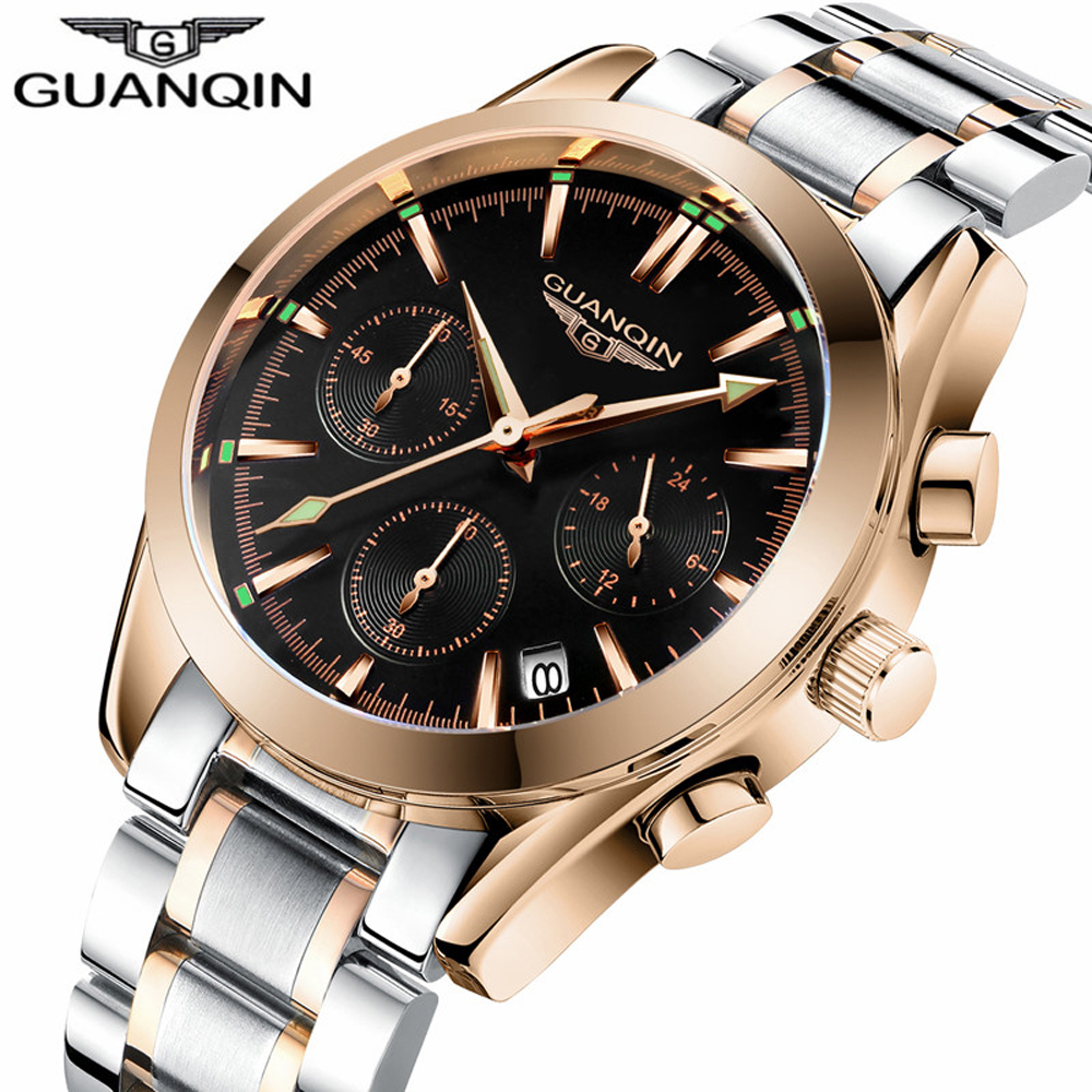 GUANQIN Mens Watches Top Brand Luxury Chronograph Men Business Casual Clock Stainless Steel Quartz Wrist Watch relogio masculino migeer relogio masculino luxury business wrist watches men top brand roman numerals stainless steel quartz watch mens clock zer