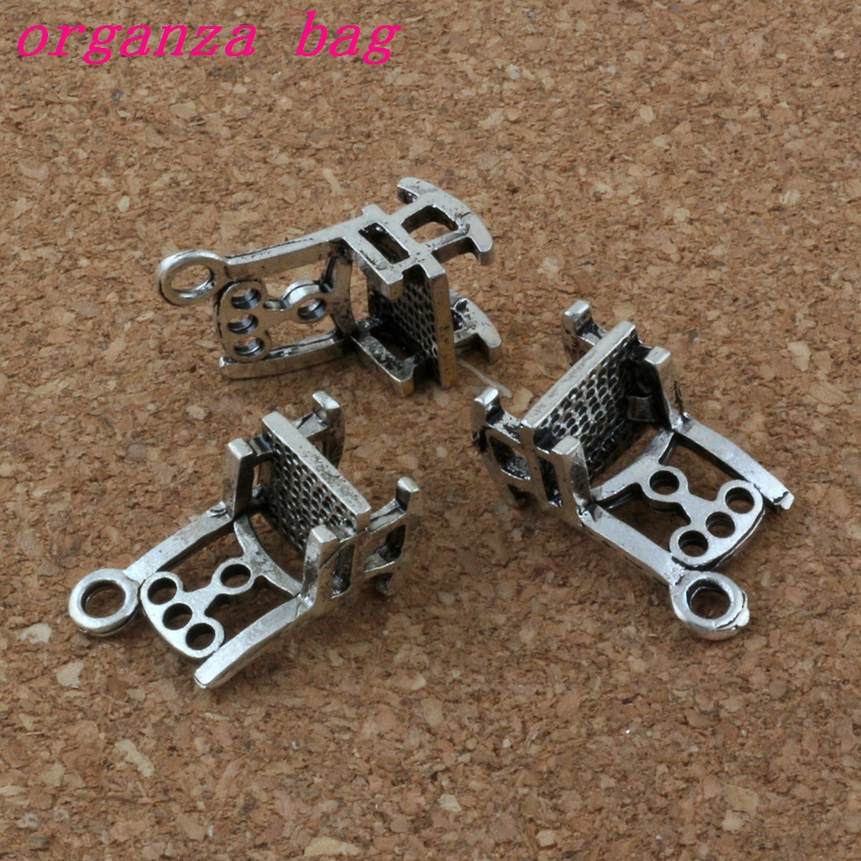 Hot ! 3D chair Charm Pendants 100Pcs/lot sell Antique Silver Jewelry DIY 10x19X8mm A-178