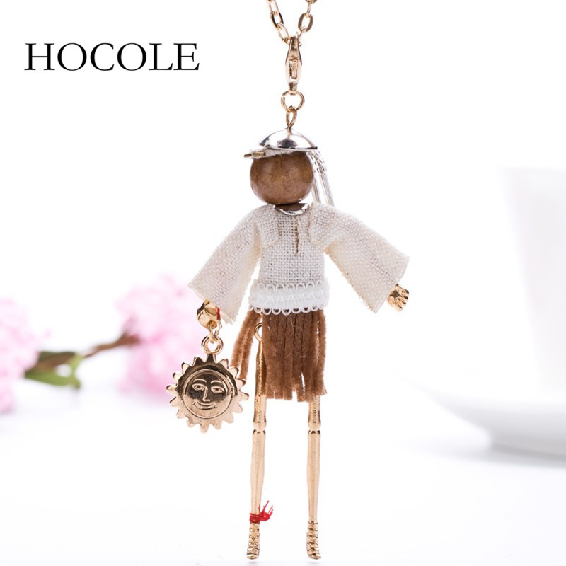 Newest Fashion Doll Necklace Long Chain Cloth Coffee Dress Pendant Maxi French Doll Necklaces Jewelry for Womens Girl Wholesale