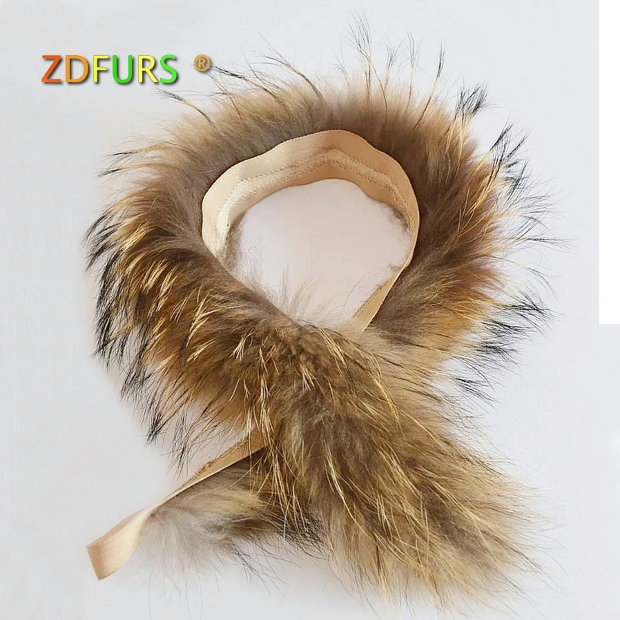 ZDFURS * Real Fur Collar 100% Genuine Raccoon Fur Scarf  70cm Fur Trim Of Down Coat Fur Strip/Hooded
