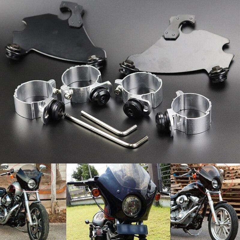 49mm Motorcycle Fork Bracket Fairing Black Trigger Lock Mount Kit For Harley Dyna D35 FXD FXDC