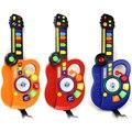 Guitarra de la Música de simulación Juguetes Guitarra Musical Instrument Niños del Órgano Electrónico Del Juguete De Plástico LED DJ Etapa Estilo Regalo Educativo