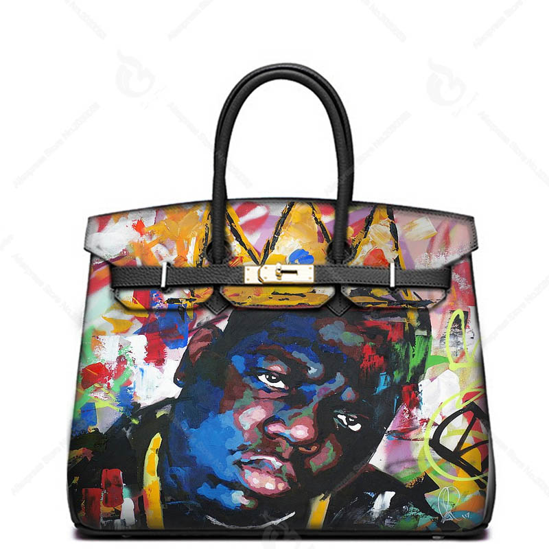 Togo leather Hand Drawing King Man Hand Bags Genuine Leather Handbags Luxury Designer bags Real Cowskin Classic Totes 247 classic leather