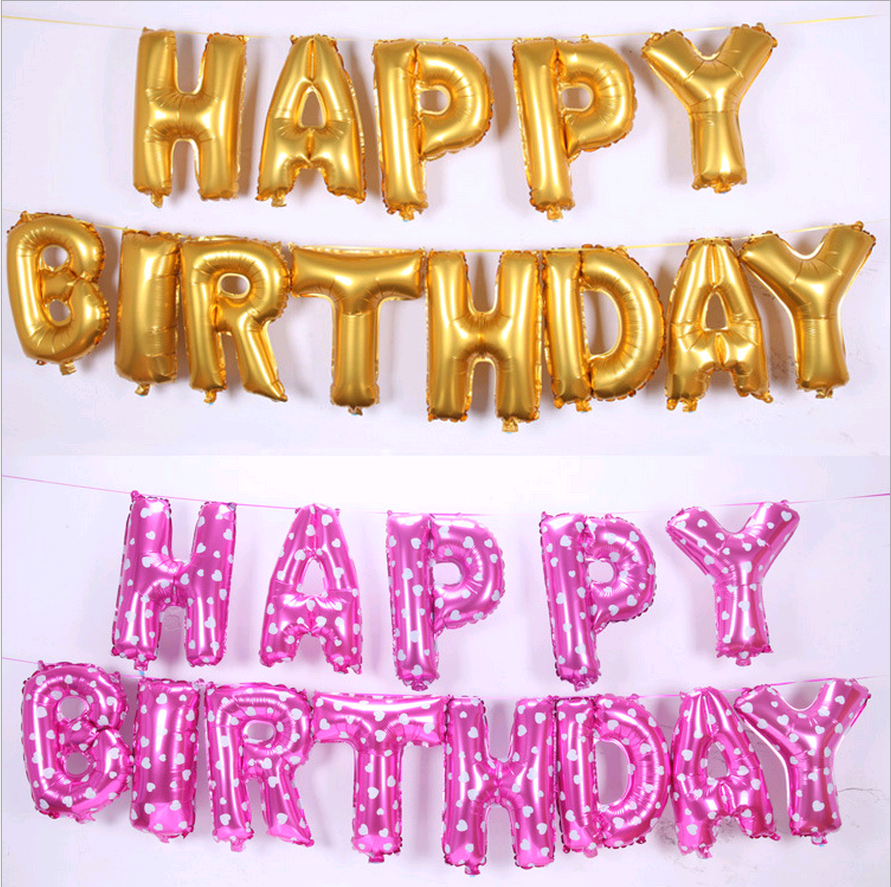 Multicolor Letters HAPPY BIRTHDAY Foil Balloons Silver Gold Children ...
