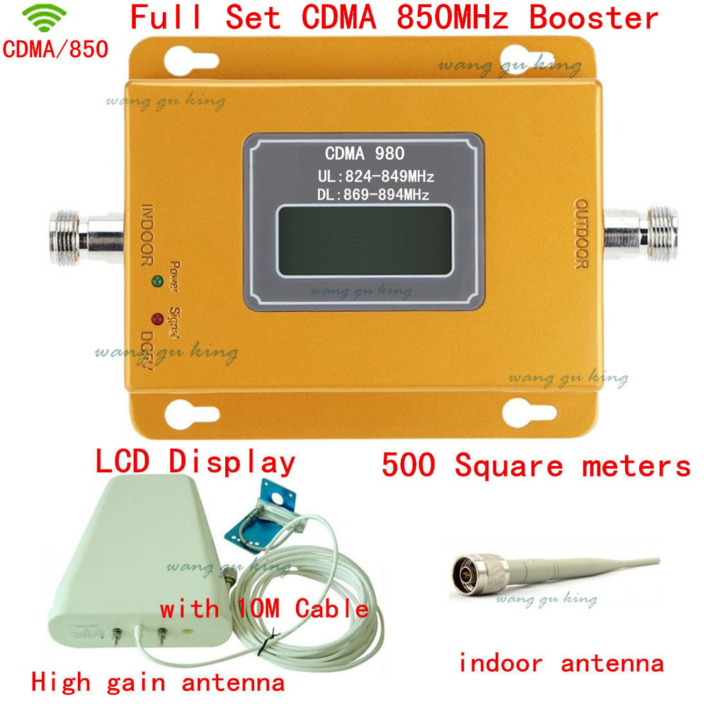 Full Set LCD Display GSM CDMA 850Mhz Booster Outdoor Antenna+indoor Antenna+10 Cable CDMA 850 Mhz Repeater Signal Amplifier