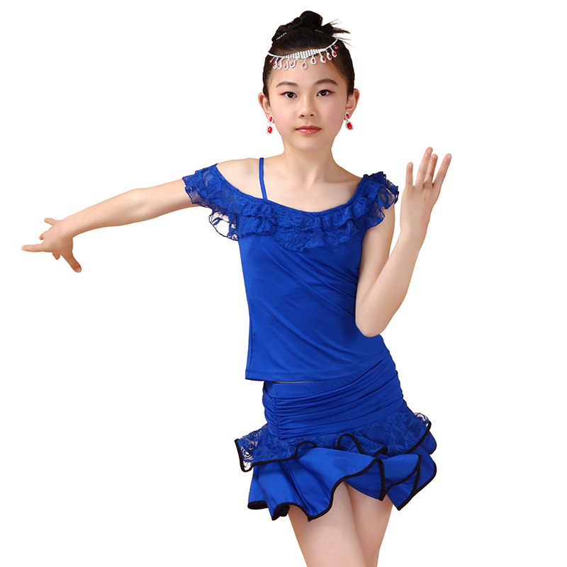 Lace Dance Dress Girls Leotard Latin Dance Skirt Dance Uniforms Children Dance Costumes