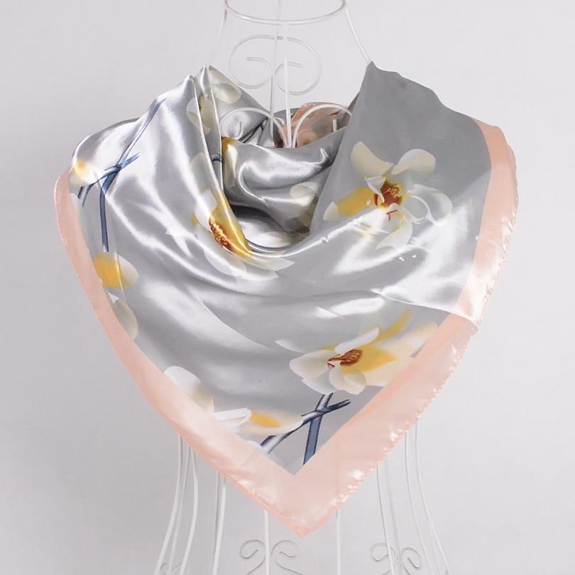Дизайн женский Шелковый большой квадратный шелковый шарф из полиэстера, 90*90 см горячая Распродажа атласный шарф с принтом для весны, лета, осени, зимы - Цвет: grey pink 511
