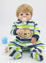 55 см полный силиконовые Bebe куклы реборн Водонепроницаемый тела 22 «реалистичные винил новорожденный для маленьких мальчиков светлые волосы купаться игрушка на день рождения подарок