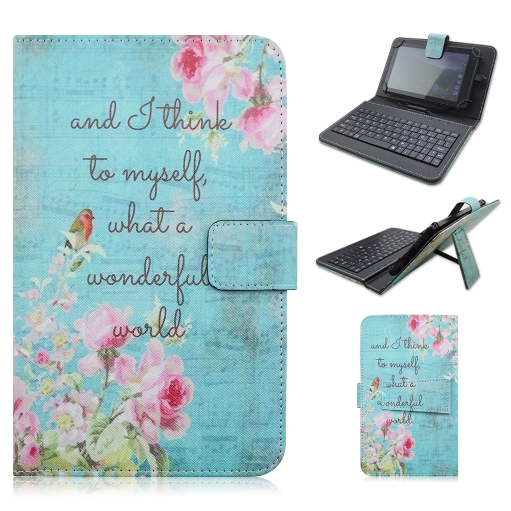 3924 PU Leather Material Stand Case with Micro USB Interface Keyboard for 9-10 inch Tablet PC