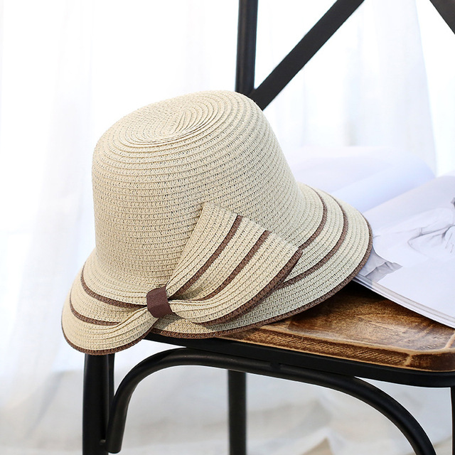 2019 Lady New Bowknot Straw Hats Bow Wide Brim Sweet Shade Sun Hats For Women Beach Panama Summer Sunscreen fashion Foldable Cap