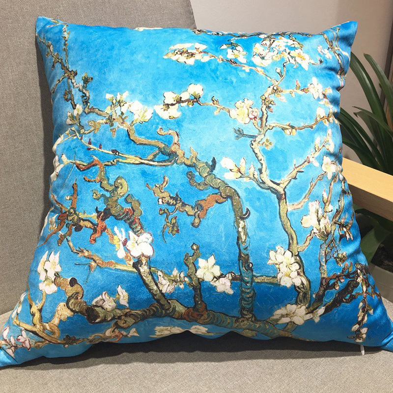 Van Gogh Almond Blossom Velvet Cushion Cover Sofa Pillow Cover For Sofa Car Chair Cushion Case Without Stuffing