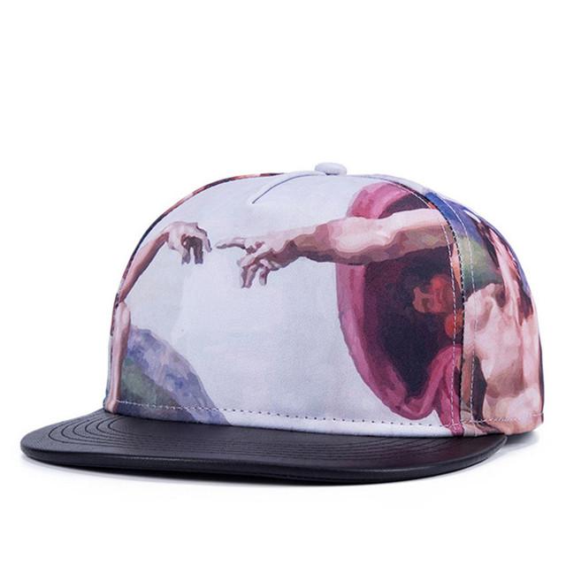 Verão Snapback Gorras chapéu boné de aba larga Bon 3D pinturas abstratas do Hip hop ajustável tampas de osso