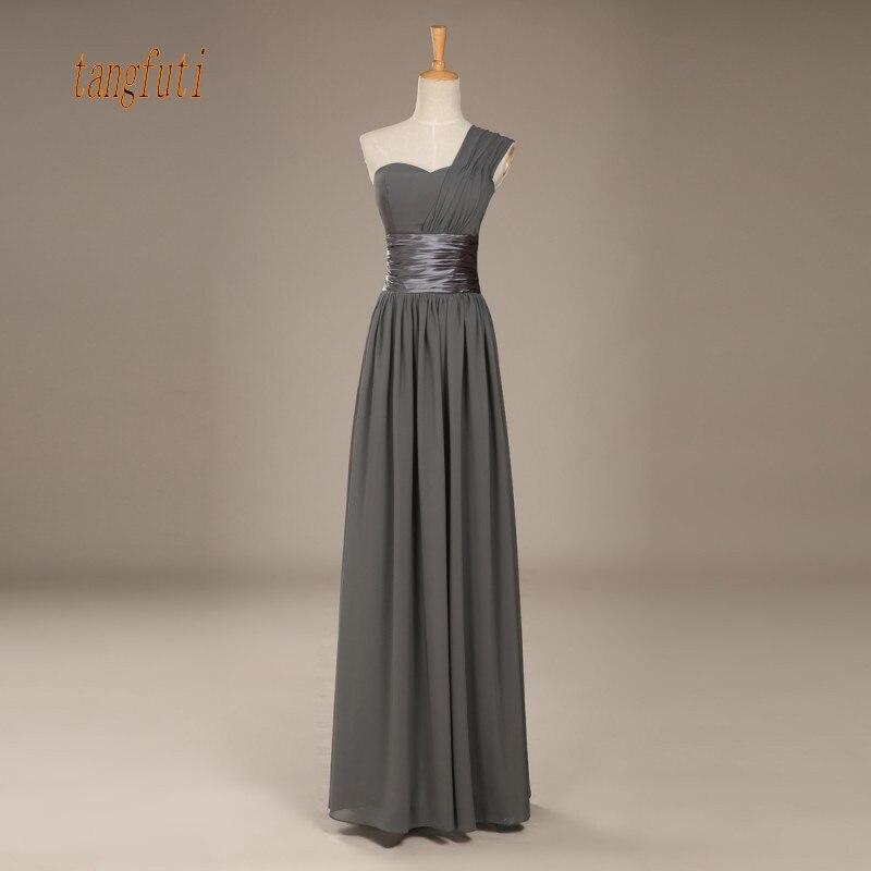 One Shoulder Chiffon   Bridesmaid     Dresses   A Line Floor Length Simple Long Women Wedding Guest   Dress