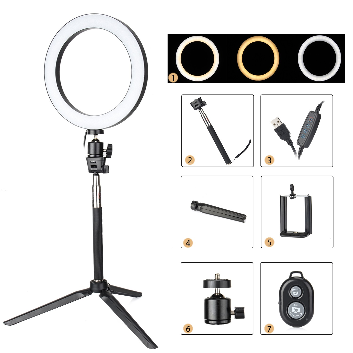 Photography Dimmable 16cm LED Selfie Ring Light Youtube Video 3200 5500k Makeup Photo Studio Lamp Add Phone Holder Remote Tripod