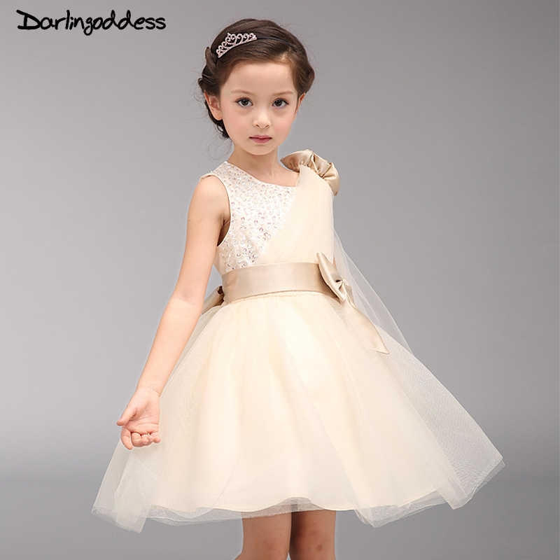 687fbffc2d64ba4 Дешевые цвета шампанского для девочек в цветочек платья Детские торжества  платье для дня рождения на молнии