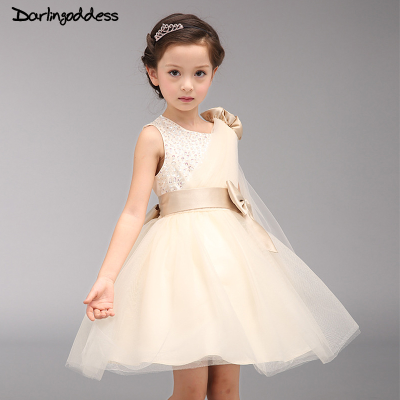 Cheap Champagne   Flower     Girl     Dresses   Baby Pageant Birthday Party   Dress   Zipper Tulle First Communion Gown Pink   Flower     Girls     Dress
